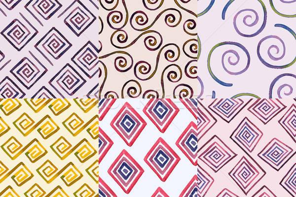 Végtelenített mértani minták kézzel rajzolt vízfesték terv Stock fotó © alexmakarova