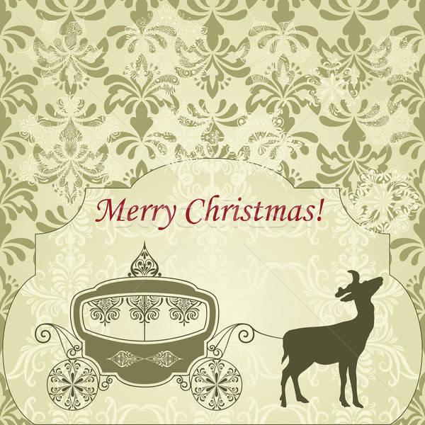 Vektor karácsony üdvözlőlap szarvas klasszikus fuvar Stock fotó © alexmakarova