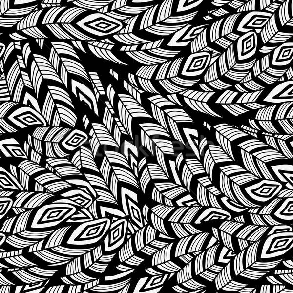 Vector Seamless Pattern with Feathers Stock photo © alexmakarova