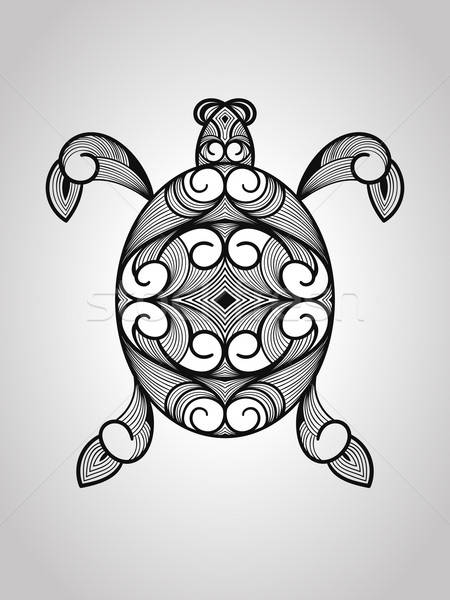 Vector schildpad tattoo stijl gezicht zon Stockfoto © alexmakarova