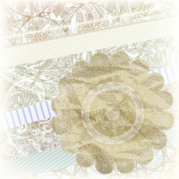 Złoty Snowflake album na wycinki wzór kwiatowy ozdoby Zdjęcia stock © alexmakarova