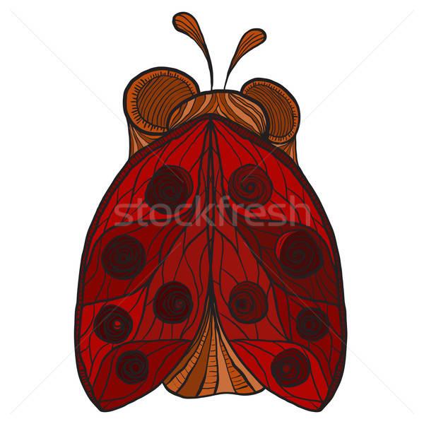 Vektör stilize uğur böceği korkak kırmızı kanatlar Stok fotoğraf © alexmakarova