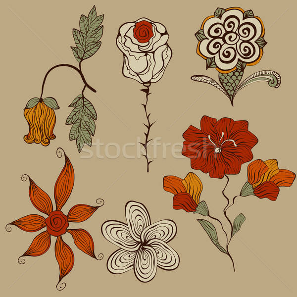 Vector Floral Bizarre Design Elements Stock photo © alexmakarova