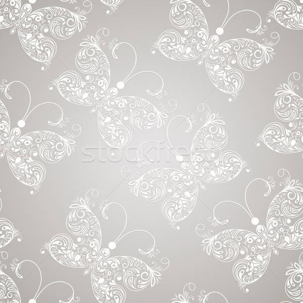 Vector seamless pattern with white paper cut butterflies Stock photo © alexmakarova