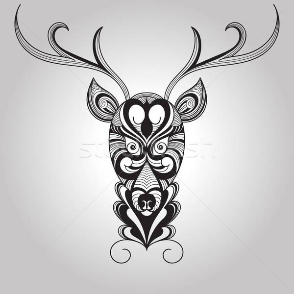 Stock fotó: Vektor · szarvas · tetoválás · stílus · virág · textúra
