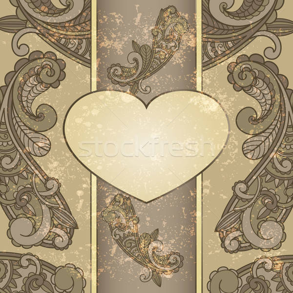 vector heart with paisley pattern and place for your text on  gr Stock photo © alexmakarova