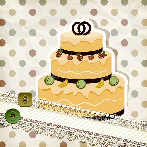 vector vintage pattern with wedding cake and retro background Stock photo © alexmakarova