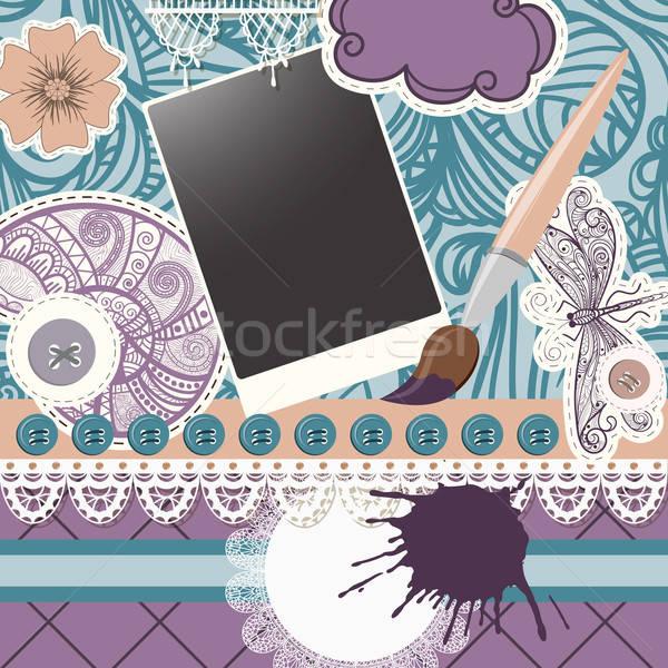 ベクトル スクラップブック デザイン パターン シームレス 要素 ストックフォト © alexmakarova