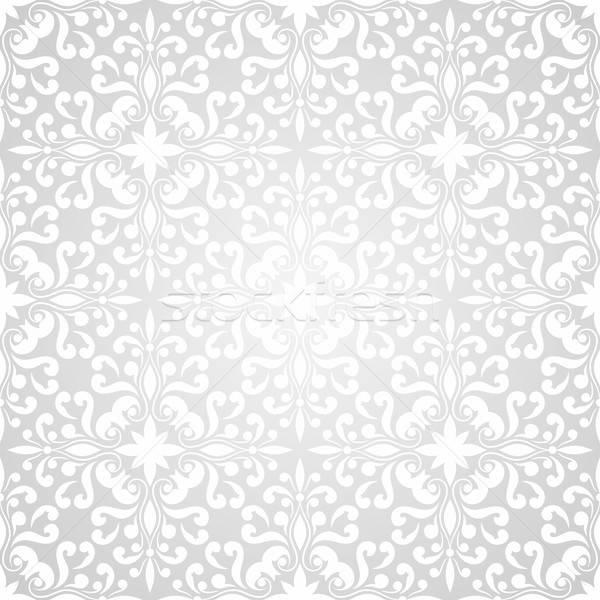 Foto d'archivio: Vettore · senza · soluzione · di · continuità · floreale · wallpaper · pattern · gradiente