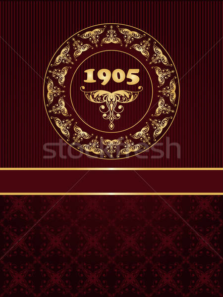 Vector greeting card with golden frame in vintge seamless patter Stock photo © alexmakarova