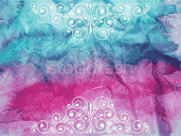 Vector Floral Decorative Elements on watercolor background Stock photo © alexmakarova