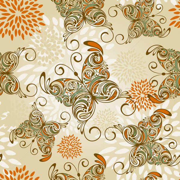 vector seamless pattern with   hand drawn butterflies and abstra Stock photo © alexmakarova