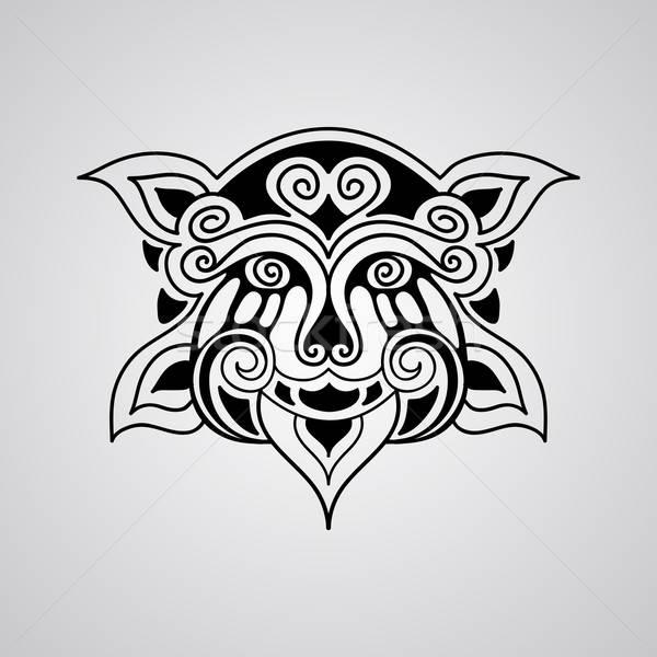 Wektora lew tatuaż szkic twarz polinezyjski Zdjęcia stock © alexmakarova