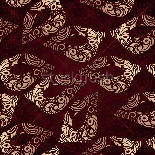 Vektor végtelenített virágmintás minta maszkok absztrakt Stock fotó © alexmakarova