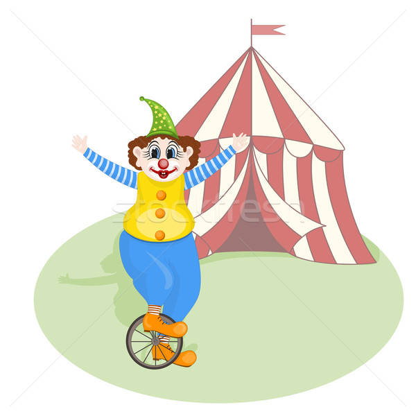 vector cheerful clown unicycling in front of circus tent Stock photo © alexmakarova