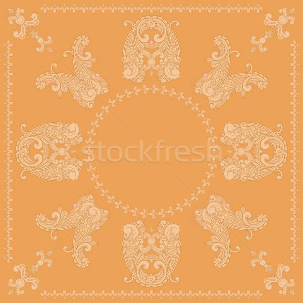 vector paisley square pattern in orange Stock photo © alexmakarova