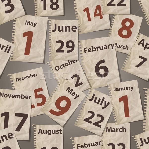 Vektor végtelen minta naptár szakadt messze konzerv Stock fotó © alexmakarova
