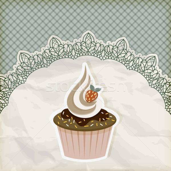 vector retro  invitation temlate with cupcake on lacy napkin Stock photo © alexmakarova