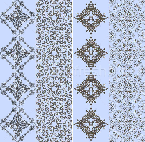 vector retro bookmarks with seamless floral patterns Stock photo © alexmakarova