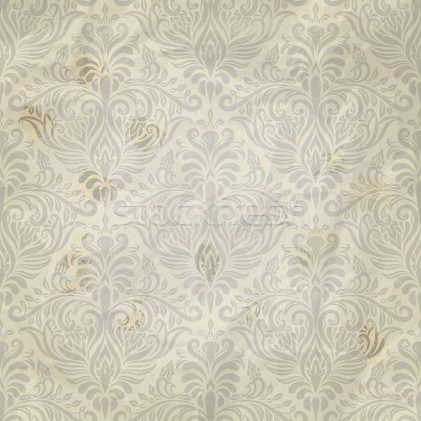 Vector Seamless Vintage Pattern on Grungy Crumpled paper texture Stock photo © alexmakarova