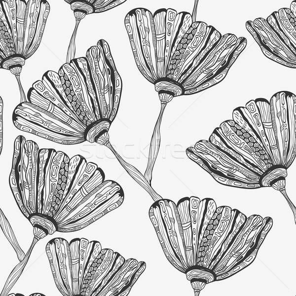 Vector Seamless Pattern with Bizarre Flowers Stock photo © alexmakarova
