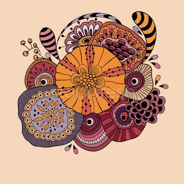 Vector abstract doodle funky bloemen Stockfoto © alexmakarova