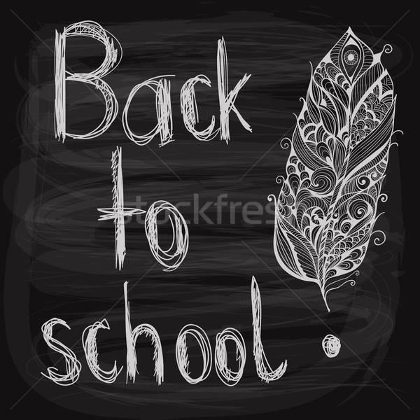 Vissza az iskolába kréta rajzolt toll iskolatábla szerkeszthető Stock fotó © alexmakarova