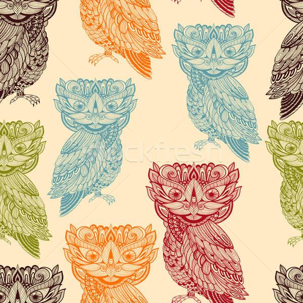 Vector Seamless Pattern with Bright  Owls Stock photo © alexmakarova