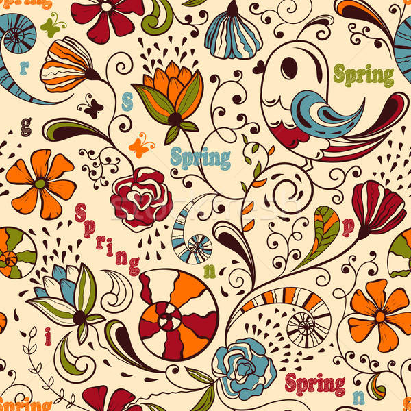 Vektor végtelenített tavasz minta szerkeszthető eps Stock fotó © alexmakarova