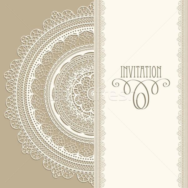 Vektor klasszikus meghívó szalvéta fehér végtelenített Stock fotó © alexmakarova