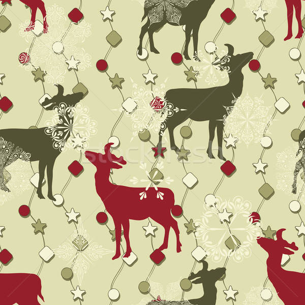 Vector Winter Seamless Pattern with Christmas Decoration, Deers, Stock photo © alexmakarova