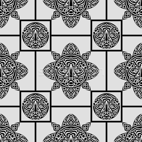 Wektora polinezyjski symbolika tatuaż stylu Zdjęcia stock © alexmakarova