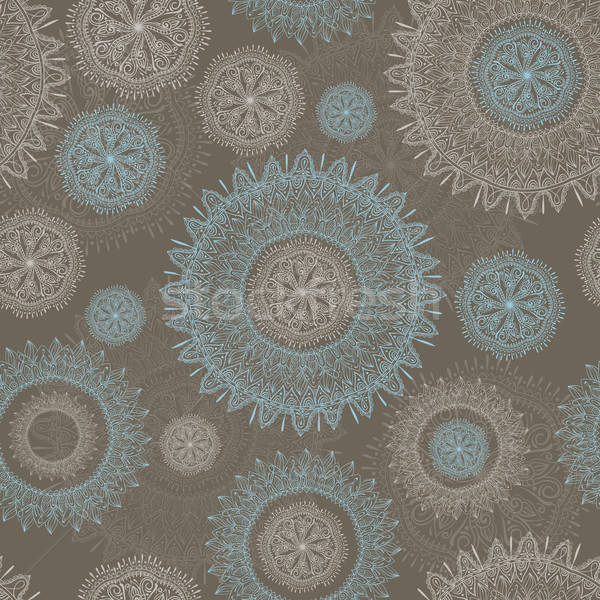 vector seamless lacy  pattern with snowflakes and flowers Stock photo © alexmakarova