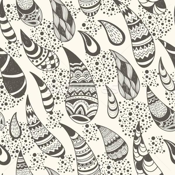 ストックフォト: ベクトル · シームレス · パターン · 手描き · いたずら書き · スタイル