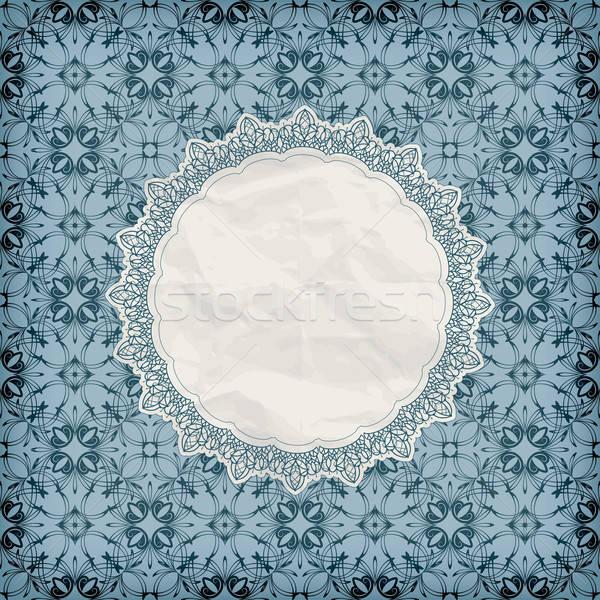 vector retro lacy napkin on seamless blue pattern Stock photo © alexmakarova