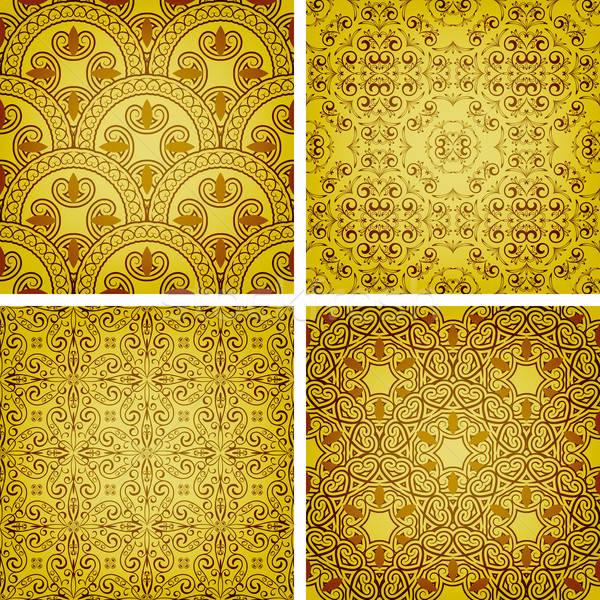 vector seamless golden patterns Stock photo © alexmakarova