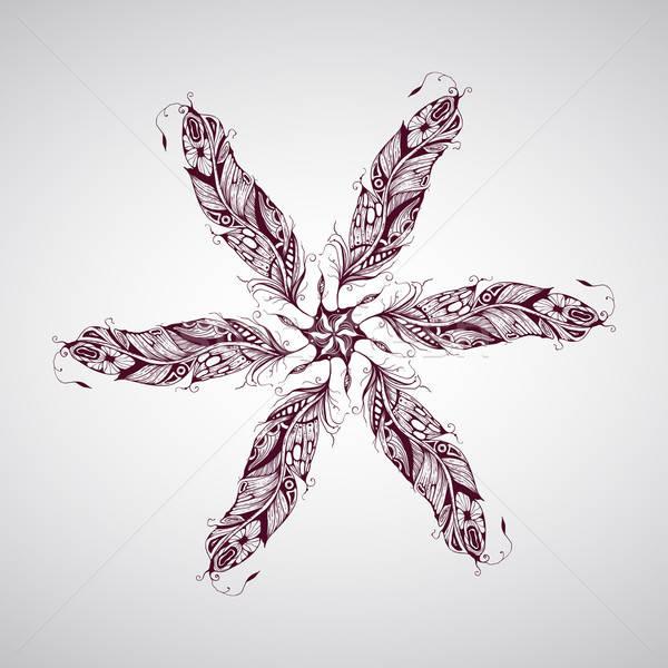 ベクトル 羽毛 詳しい 手描き 入れ墨 ストックフォト © alexmakarova