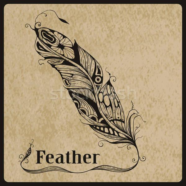 Vektor toll rendkívül részletes kézzel rajzolt tetoválás Stock fotó © alexmakarova