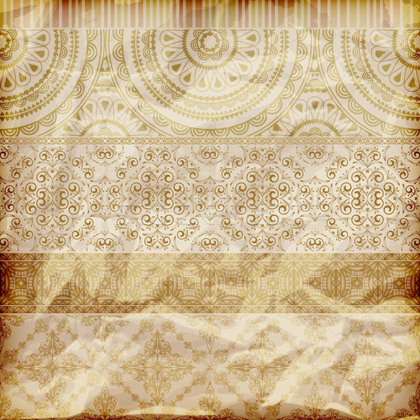 vector seamless floral borders on  crumpled golden foil  paper t Stock photo © alexmakarova