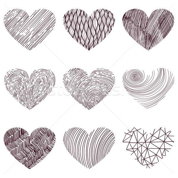 9 vector funky hearts Stock photo © alexmakarova