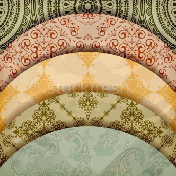 vector floral patterns, vintage retro style Stock photo © alexmakarova