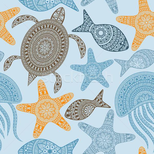 Vektor végtelen minta teknősök tenger narancs hullám Stock fotó © alexmakarova