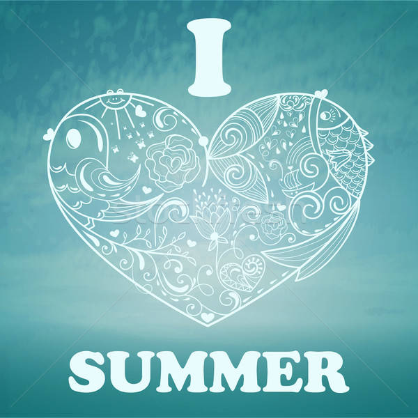 Vector Summer Background with blue sky and sea Stock photo © alexmakarova