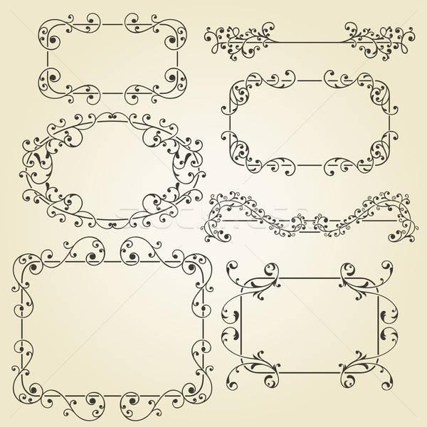 vector lacy  vintage floral  design elements  Stock photo © alexmakarova