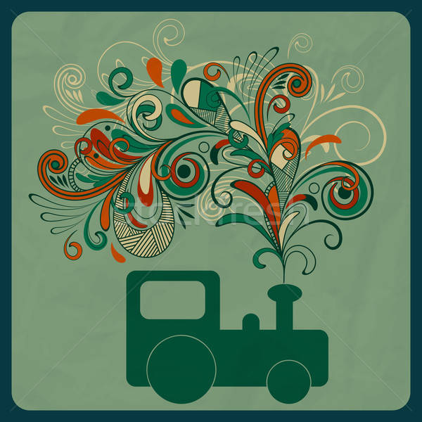 vector eco concept with a steam train and floral pattern instead Stock photo © alexmakarova