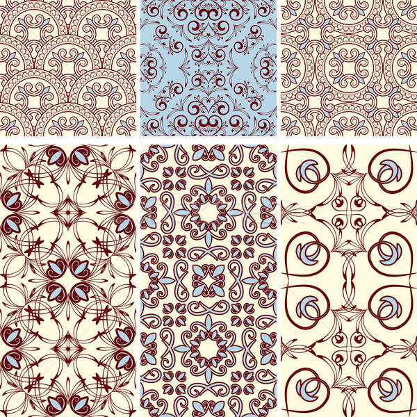 vector six seamless  patterns, oriental style Stock photo © alexmakarova