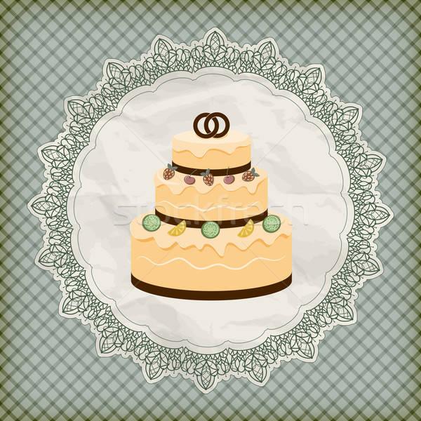 vector retro wedding invitation with big wedding cake on lacy na Stock photo © alexmakarova