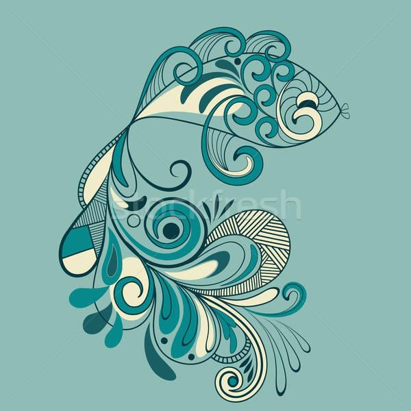Vetor peixe padrão detalhado cauda abstrato Foto stock © alexmakarova