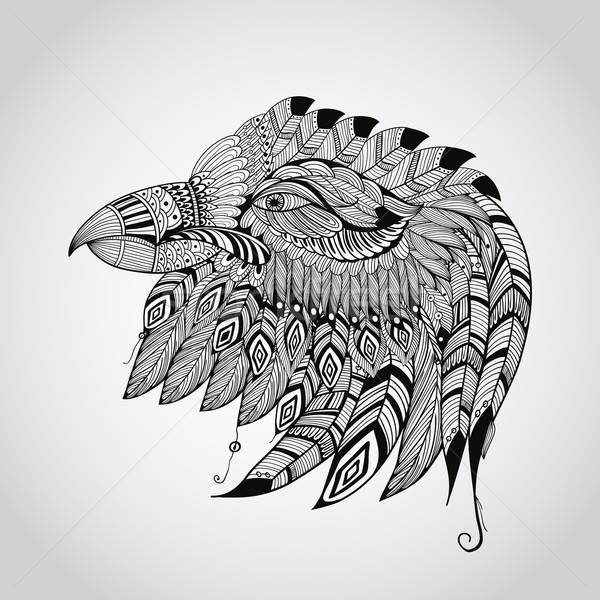 Line Art Design Inspiration : Vektor · tattoo adler kopf schwarz hand