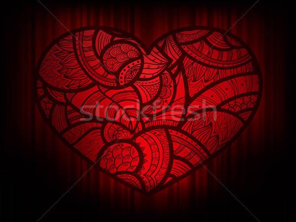Vektor szív firka dísz eps 10 Stock fotó © alexmakarova